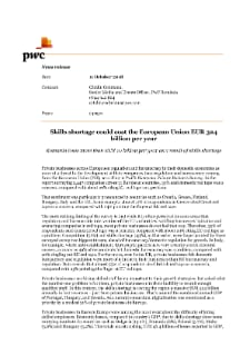 Skills shortage could cost the European Union EUR 324 billion per year