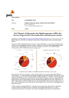 PwC Report: In Romania, the digital segments will be the drivers of growth for the media and entertainment market